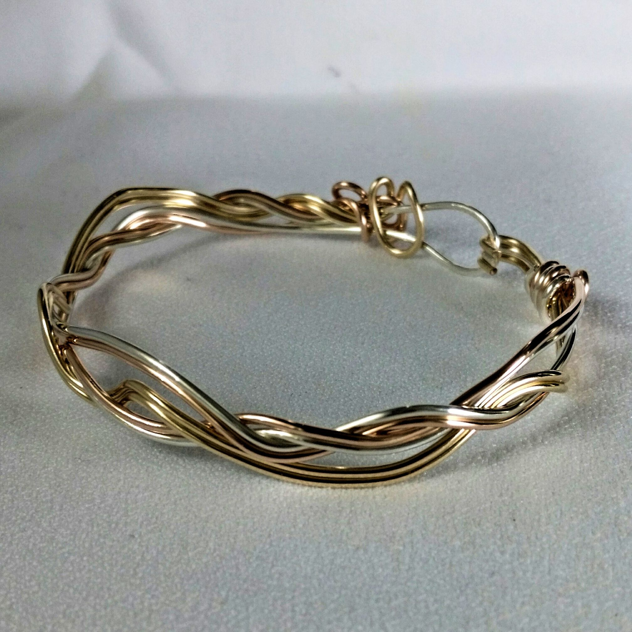 Wire Formed Bracelet - Tri Color-Sterling Silver, 14/20 Yellow Gold ...