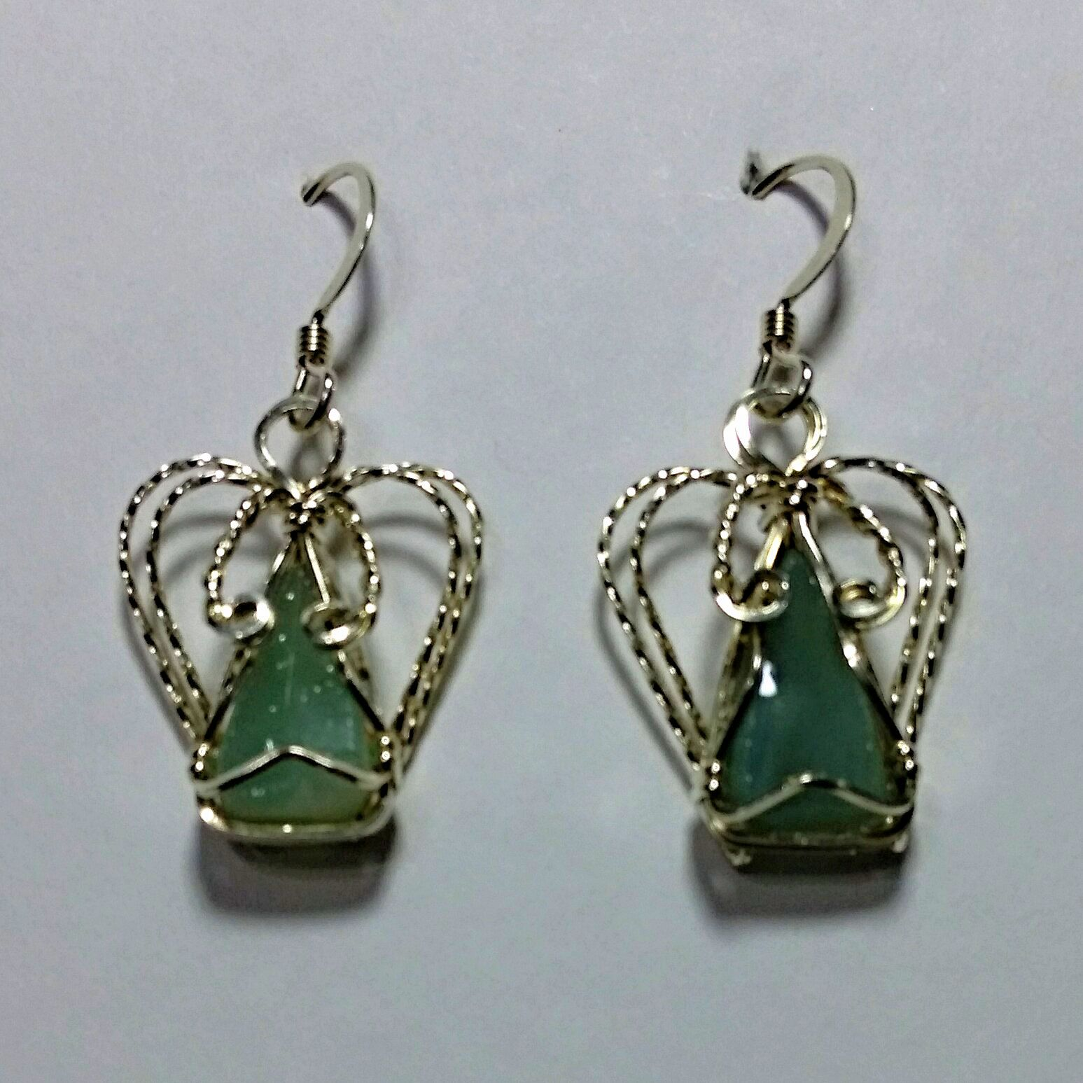 Stained Glass and Sterling Silver Wire Wrapped Angel Earrings ...
