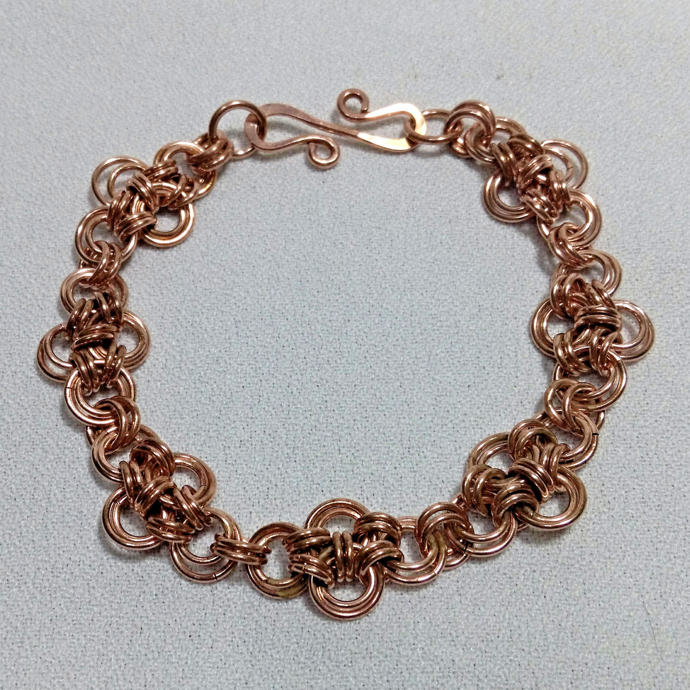 Anese Cross Chain Maille Solid Copper Bracelet 10773