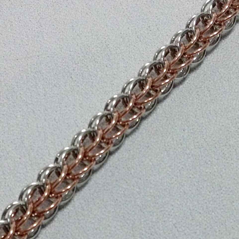 Foxtail Chain Maille Bracelet made in Copper and Silver Aluminum ...