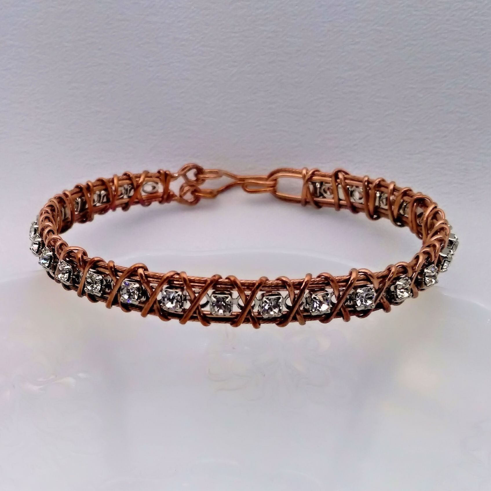 Wire Wrapped, Wire Formed, Swarovski Crystal and Copper Wire Cuff ...