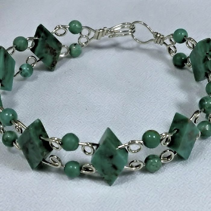 Wire Formed Turquoise Beads and Sterling Silver Wire Cuff with ...