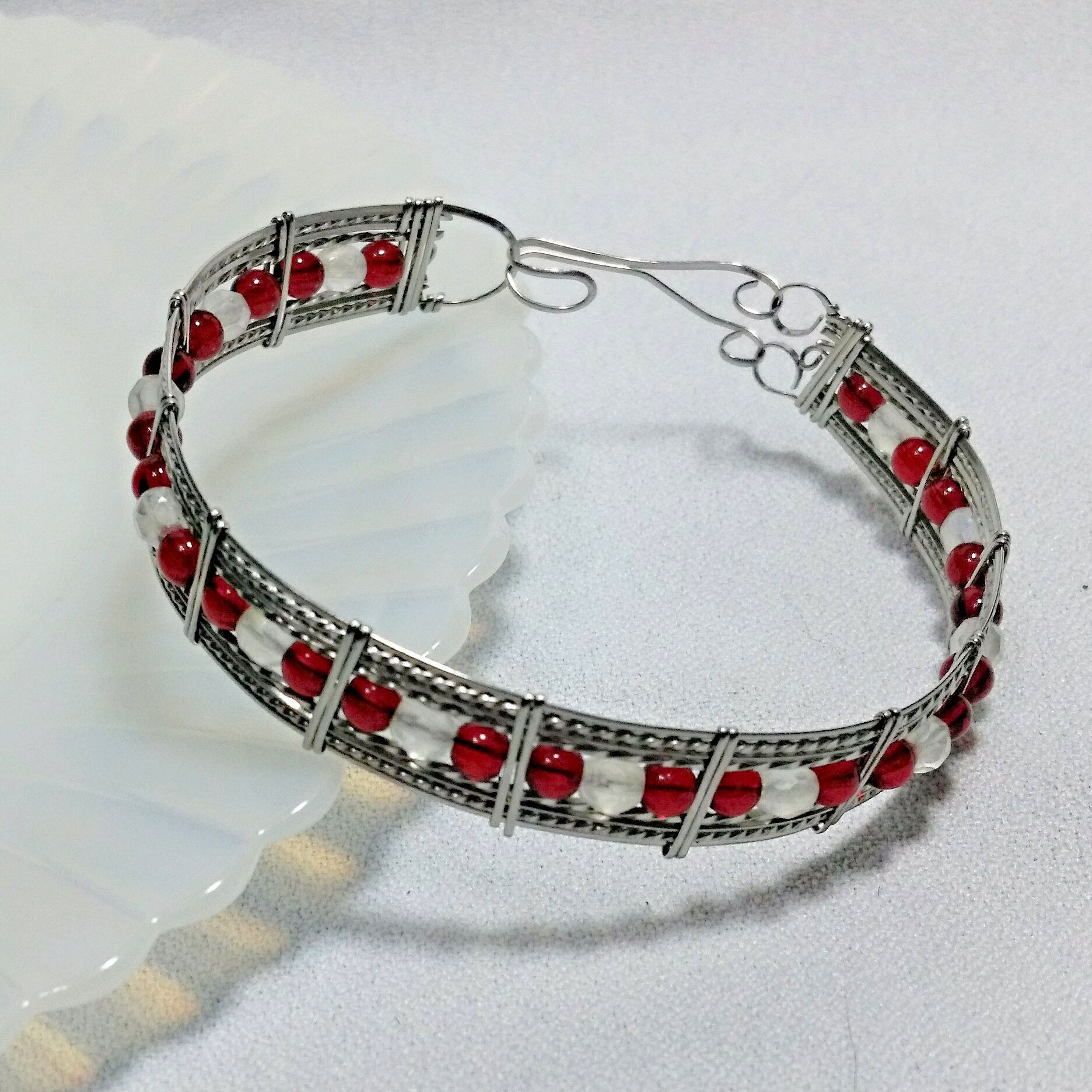 Wire Wrapped and Formed Stainless Steel Red and White Beaded Cuff ...