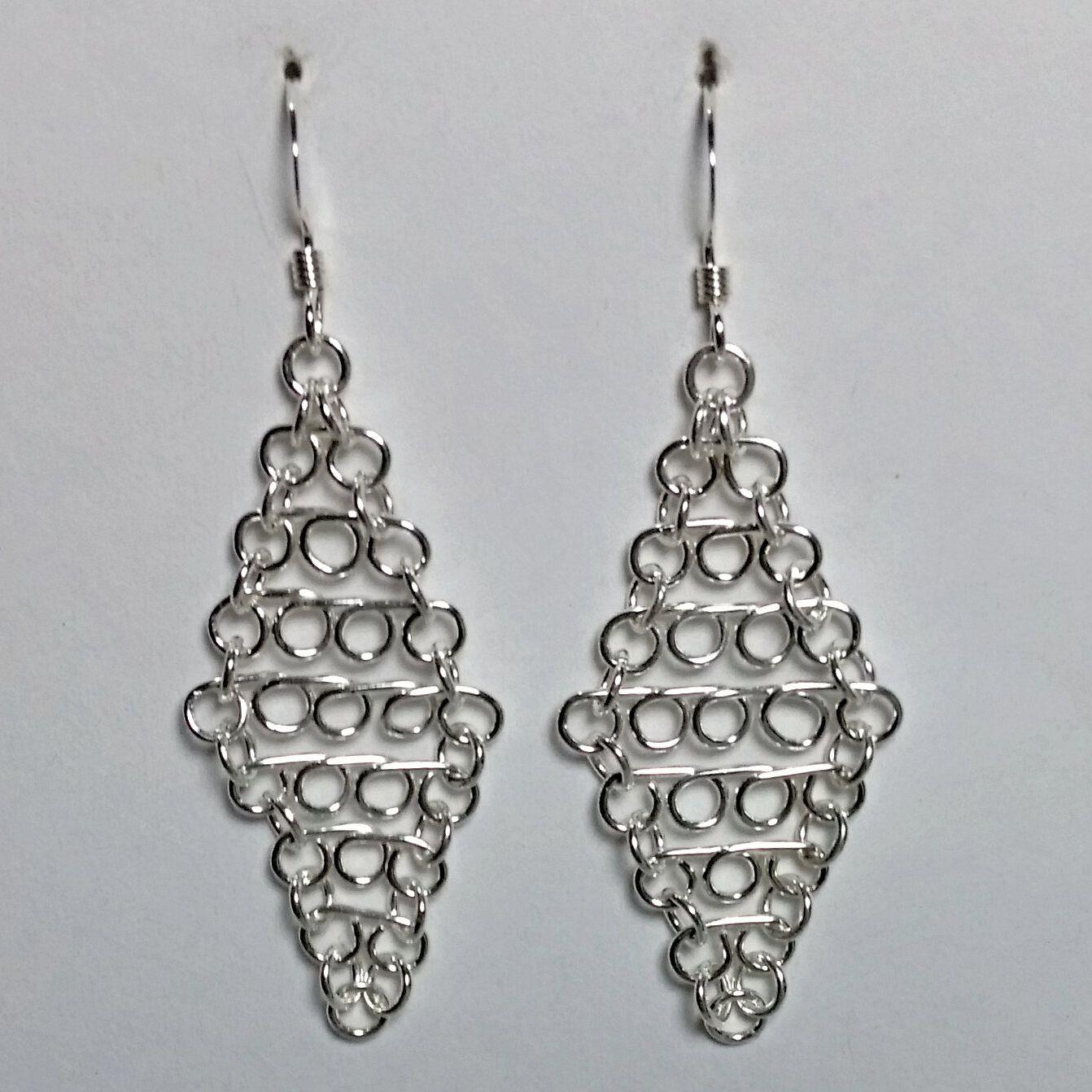 Sterling Silver Handmade Wire Formed Diamond Shaped Earrings 11720