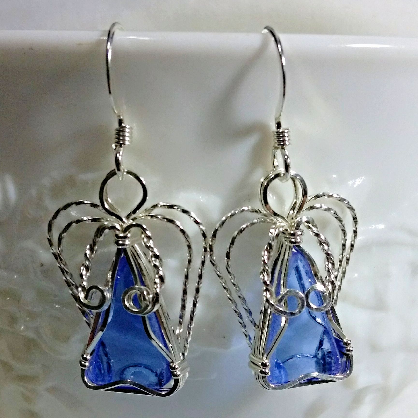 earrings blue cornflowerbuttondropearrings cobalt beach cornflower mountain seaglass short drop