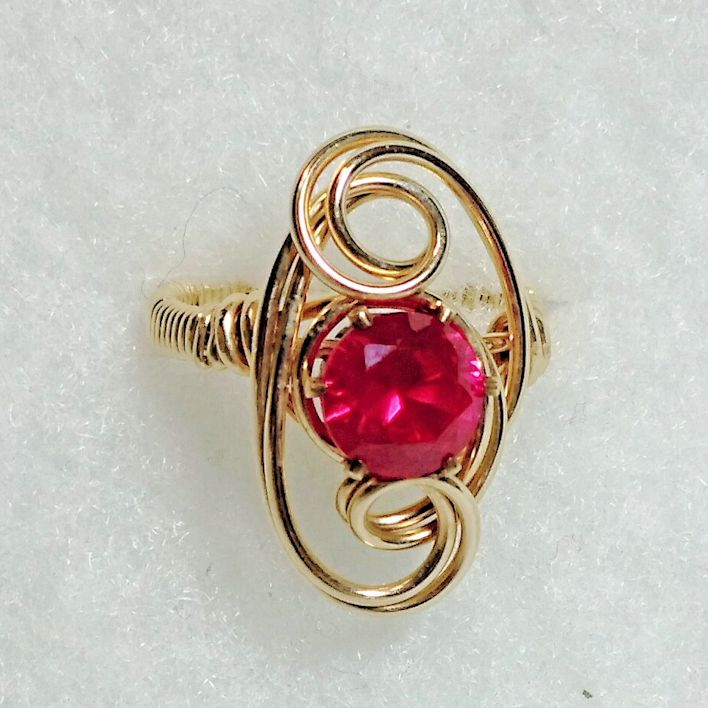 Made to size 4-14 Faceted Ruby Square Gemstone Bead and Sterling Silver or Gold Filled Wire Wrapped Ring